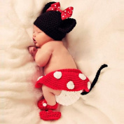 Towall 1 Set Vivid Lovely Minnie Hat+Skirt+Shoes Crochet Knit Photo Prop Costume For Girl Infant Baby