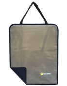 """Premium Tan/Beige & Black Reversible Kick Mat with Stiff Edging and """"Invisible Strap"""" - Covers & Protects the Back of Your Car's Leather or Cloth Front Seat From Children's Dirty/Muddy/Wet/Sandy Shoes - Stylish/Blends with All Interiors - Fits Most Car .."""