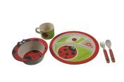 EcoBamboo Ware Kids Bamboo Dinnerware Set, Ladybug