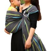Vlokup(TM) Wrap Original 100% Cotton Adjustable Baby Carrier Infant Lightly Padded Ring Sling Grey Rainbow