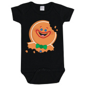Black New Born Gingerbread Man Baby Grow