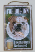 Bulldog, Father's day Gift, Top DOG INN Beer Hound Sign, 10 X 15 Wood Sign, Wall Decor, Brow,White