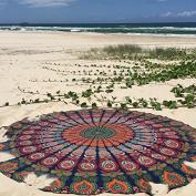 Indian Mandala Round Roundie Beach Throw Tapestry Hippy Boho Gypsy Cotton Tablecloth Beach Towel , Round Yoga Mat