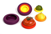 Food Huggers Reusable Silicone Food Savers, Assorted Colour
