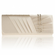 Zarla Women Evening Bags New Pleated Party Bridal Prom Girl Ladies Satin Clutch Bag UK
