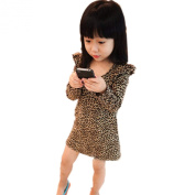 Zeagoo Kids Girl's Long Sleeve Casual Leopard Printed Party Dress