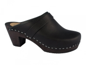 Lady clogs Genuine thick leather black