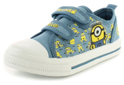 New Boys/Childrens Navy/Yellow Despicable Me Canvas Upper Pumps. - Navy/Yellow - UK SIZES 7-1