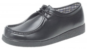 Apron Front Leather Shoes. Black. Textile Lining, Wedge Sole. Sizes 7-12 UK