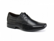 Front RYTON Boys Perforated Leather Lace-Up Shoes Black