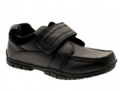 NEW KIDS BOYS BLACK FAUX LEATHER FORMAL LOAFERS SCHOOL SHOES VELCRO SIZES 13 JUNIOR - 6 ADULT
