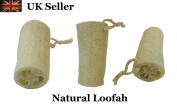 Natural Loofah Bath Shower Sponge Scrubber with Loop Pack of 3