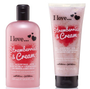 I Love... Strawberries & Cream Shower Creme 500ml & Shower Smoothie 200ml Duo