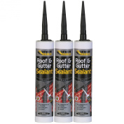 EVERBUILD PACK OF 3 300ML ROOF AND GUTTER SEALANT ADHESIVE WEATHER RESISTANT