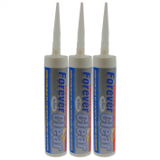 EVERBUILD PACK OF 3 300ML FOREVER CLEAR SILICONE SEALANT ADHESIVE DIY GLUE TOOL