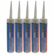EVERBUILD PACK OF 5 300ML FOREVER CLEAR SILICONE SEALANT ADHESIVE DIY GLUE TOOL