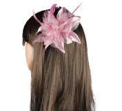 Pink Flower and Feather Fascinator on a Comb Ideal for the Races Wedding Prom