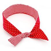 Red Gingham Wired Retro Headband