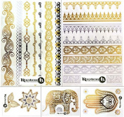 Beautiful Metallic Temporary Tattoo Set - Henna Style Set 1 (5 sheets) by ReignBeau B