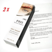FEG Eyebrow Eye Brow Growth Length Thickness Darkness Enhancer 100% Natural - 2 Boxes