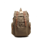 sulandy@ Multi-Function Vintage Canvas Leather Hiking Travel Military Backpack Messenger Tote Bag for women and men large