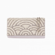 HotStyleZone Pearl Crystal Diamante Beaded Clutch Bag Wedding Prom Evening Handbag Purse