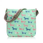 Green Dachshund Sausage Dog Canvas Ladies Messenger Fashion Bag Handbag