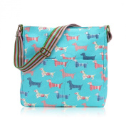 Light Blue Dachshund Sausage Dog Canvas Ladies Messenger Fashion Bag Handbag