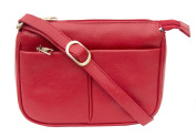Prime Hide Florence Range - Small Ladies Red Leather Zip Top Crossbody Bag 704