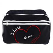 Shoulder Bag Retro Modern I Love Nicolas Black