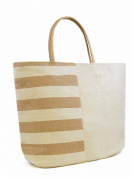 LADIES GIRLS Block Stripe Summer Beach Tote Bag Black Beige Bag