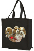 I Love Beagles Cotton Tote Shopping Bag, Black