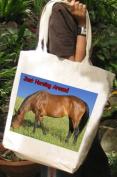 Horsing Around, Bay Horse Cotton Tote Shopping Bag