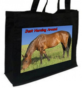 Horsing Around, Bay Horse Cotton Tote Shopping Bag