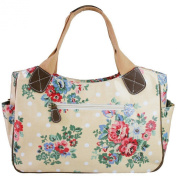 Creamy Pink & White Floral & Polka Dot Spot Oilcloth Ladies Tote Fashion Handbag