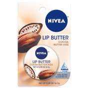 NIVEA Lip Care Butter Carded Tin, Cocoa Butter Kiss, .1740ml,