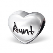 Silvadore - Silver Bead - Aunt Heart Plaque Love Bead - 925 Sterling Charm 3D Slide On - Fits Pandora European Bracelet.