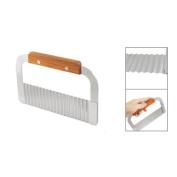 Sonline Kitchen Stainless Steel Blade Wooden Handle Vegetable Crinkle Cutter Tool