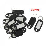 Sonline 20 Pcs Key ID Label Tags Split Ring Keyring Keychain Black
