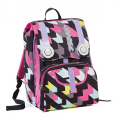 Doubling backpack - SEVEN CHERISH - Black Pink - Expandable 28 litres school student
