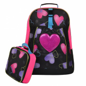 44cm Glitter Heart Kids School Bag / Black Student Backpack with Lunch Assessory Box- MyGift