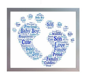 Framed New Baby Boy Footprint Word Art A4 Print. Baby Boy Photo Picture Keepsake Gift for New Mum, Dad, Brother, Sister or Family. New Baby, Baby Shower Gift.