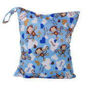 2-Zip Washable Baby Cloth Nappy Nappy Bag Monkey Heart Blue