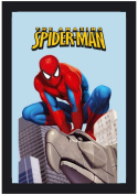 Empire Merchandising 537621 Printed Mirror with Plastic Frame with Wood Effect Featuring Spider-Man on Statue 20 x 30 cm