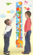 Giraffe Height Chart Wall Stickers : Monitor your Toddlers Growth with this Colourful Safari Wall Art Decoration : Perfect for a Childs Bedroom or Baby Nursery : The Design features other Safari Animals Including : Lion, Zebra, Monkey & Crocodile : A W ..
