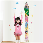 Removable Princess Castle Girl Room Height Tower Growth Chart Wall Sticker for Girls Kids Children Bedroom Wall Mural