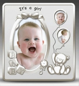 Photo Frame - Its A Girl Satin Silver Baby Photo Frame
