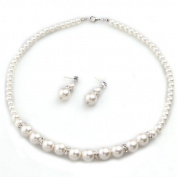 TOOGOO(R) White Faux Pearl Beads Rhinestone Necklace Stud Earrings Set