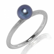 Valero Pearls Sterling Silver 925 rhodium-plated Ladies Ring with Freshwater cultured Pearls Peacock-blue Size K 60201740