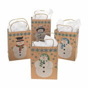 12 SNOWMAN Gift Bags w/JUTE Cord Handles/CHRISTMAS/Holiday/CRAFT Paper/COUNTRY/Dozen